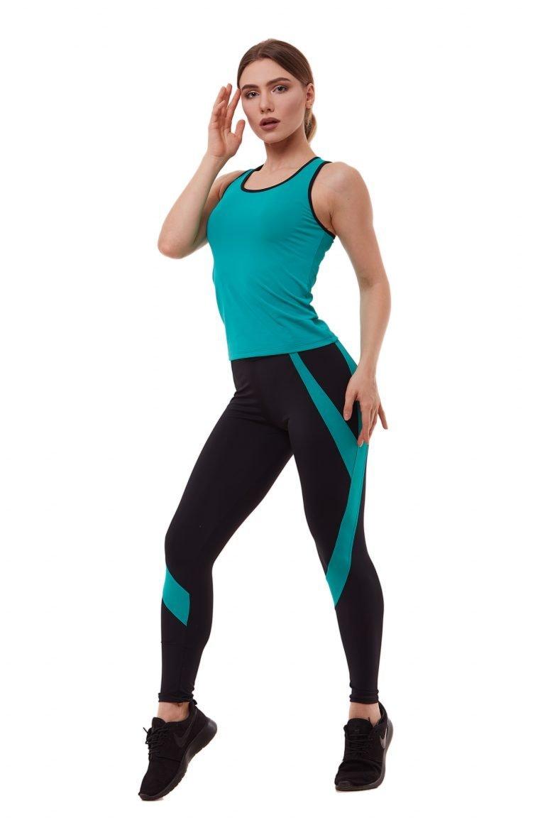 Strój fitness sportowy turkusowy (koszulka, legginsy) Pure