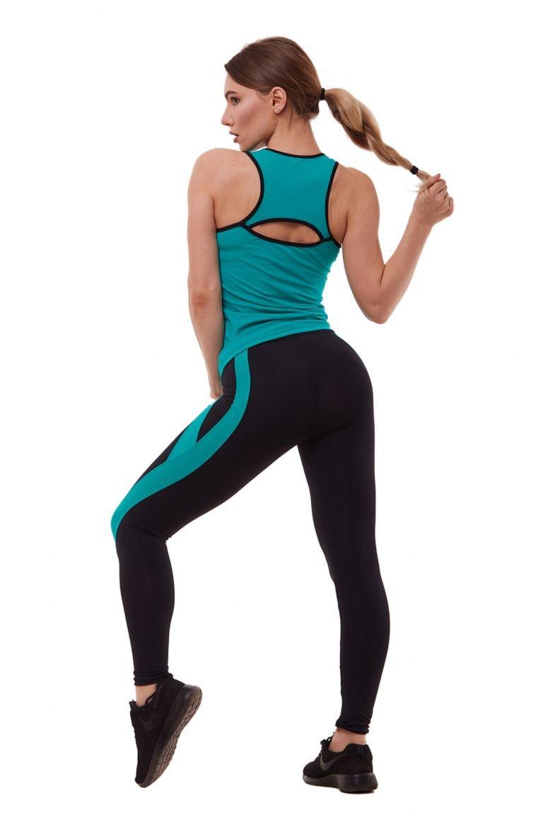 Strój fitness sportowy turkusowy (koszulka, legginsy) Pure (zdjęcie 2)