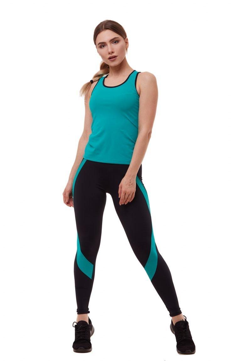 Strój fitness sportowy turkusowy (koszulka, legginsy) Pure (zdjęcie 3)