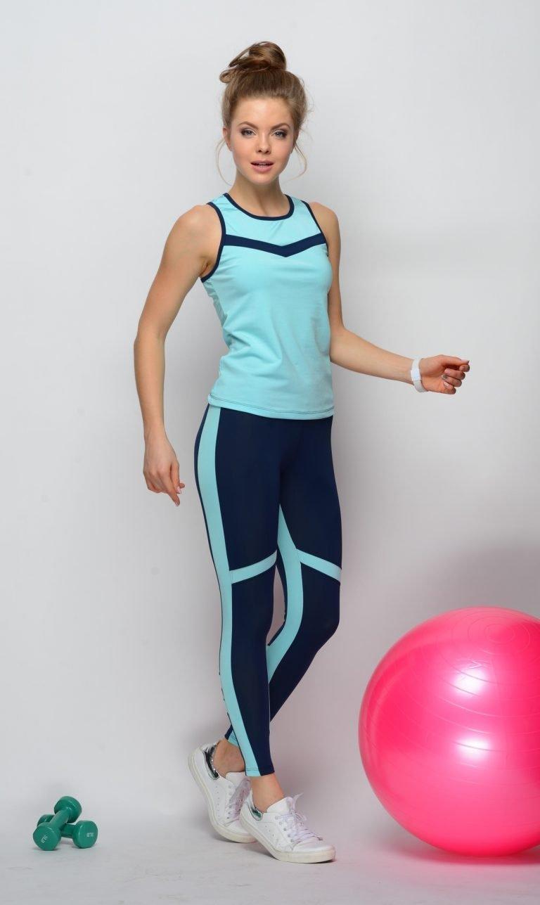 Niebieski strój fitness sportowy (koszulka, legginsy) Pure (zdjęcie 5)