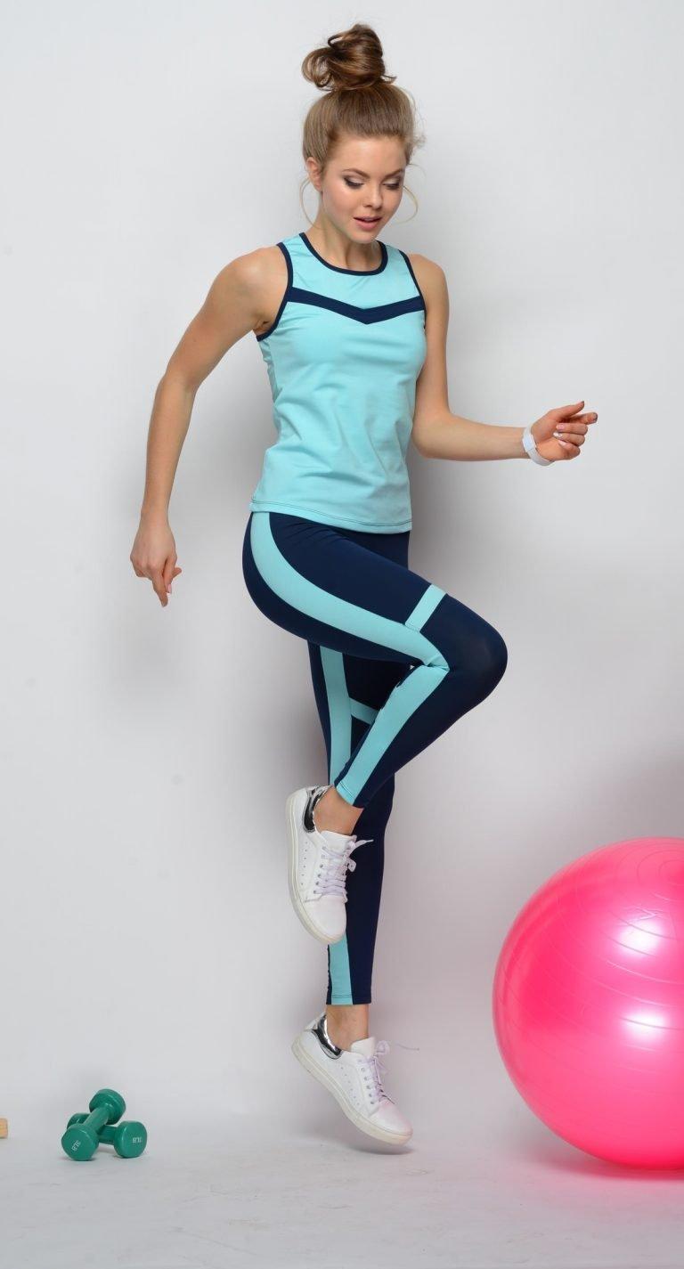 Niebieski strój fitness sportowy (koszulka, legginsy) Pure (zdjęcie 6)