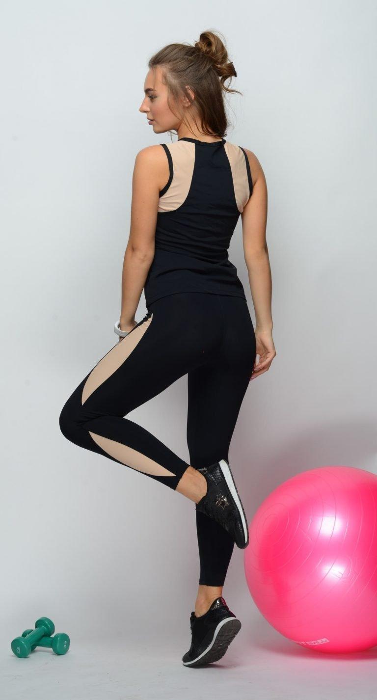 Czarny strój fitness sportowy (koszulka, legginsy) Pure (zdjęcie 3)