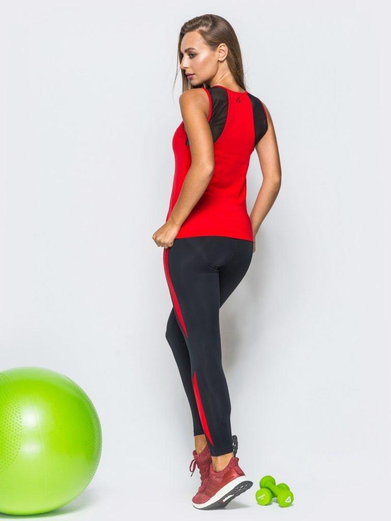 Strój fitness sportowy czarno-czerwony (koszulka, legginsy) Pure (zdjęcie 2)