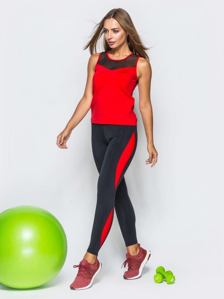 Strój fitness sportowy czarno-czerwony (koszulka, legginsy) Pure