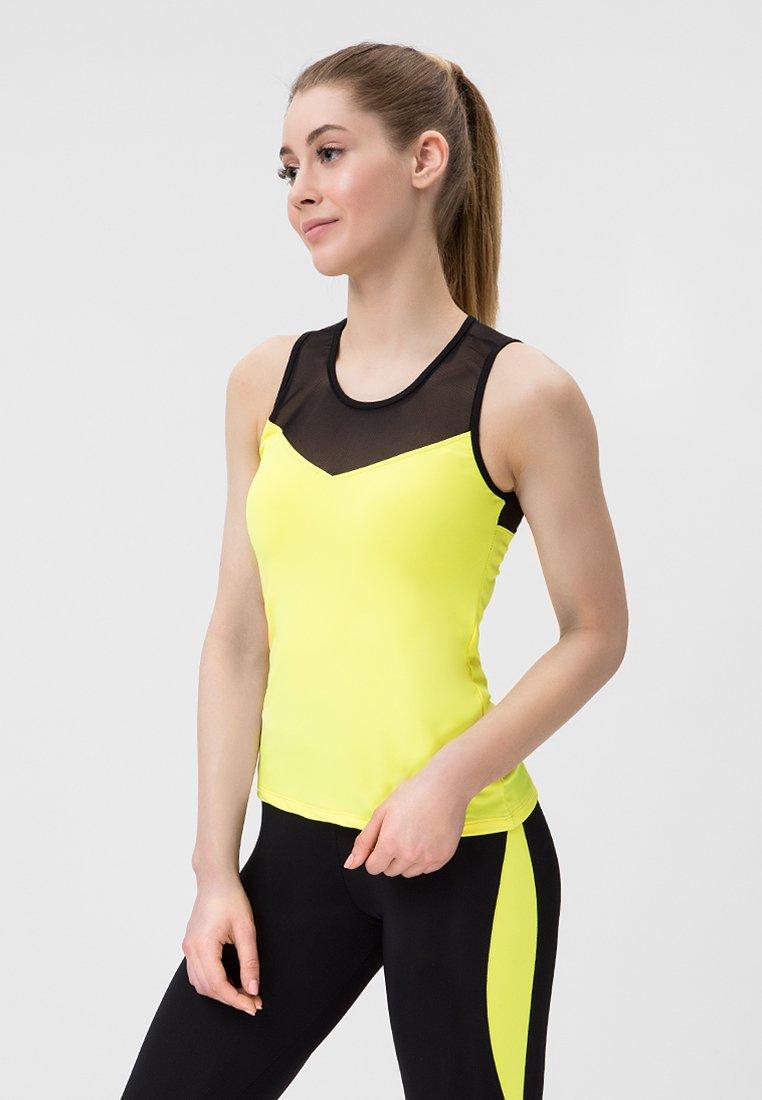 Strój fitness sportowy czarno żółty (koszulka, legginsy) Pure (zdjęcie 2)