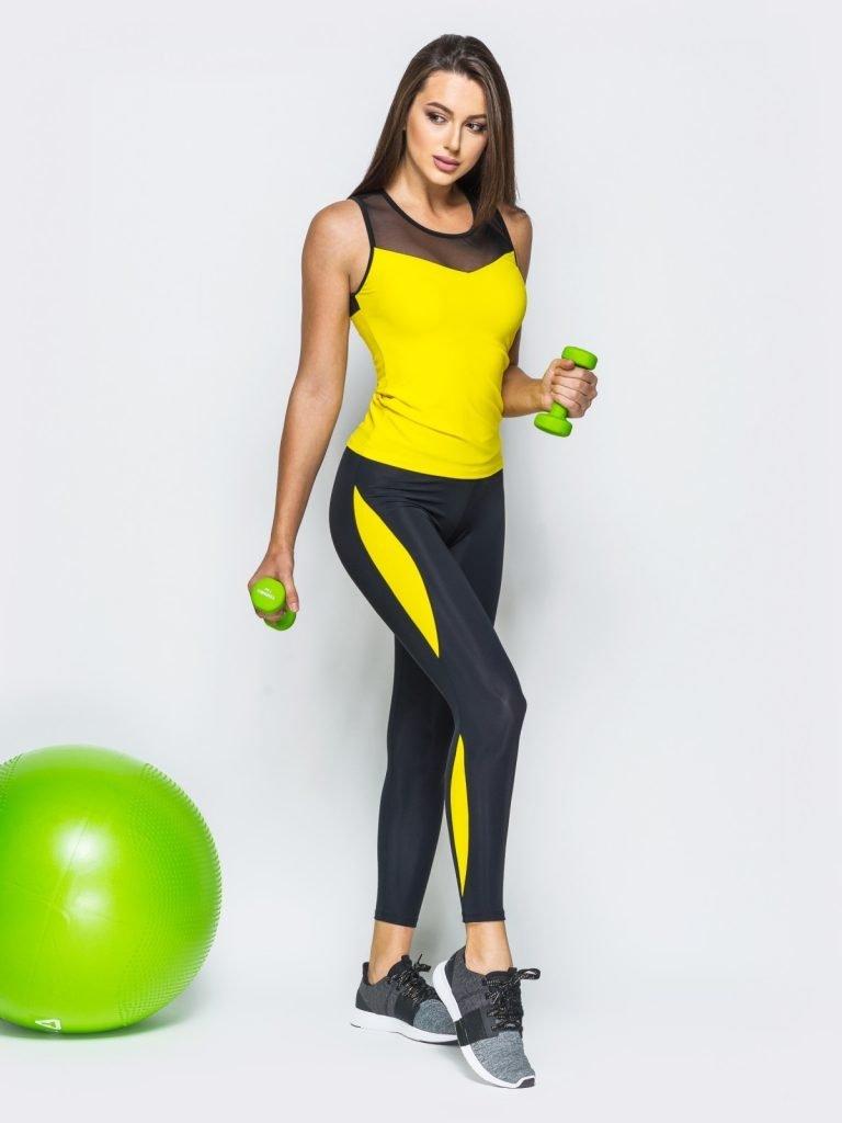 Strój fitness sportowy czarno żółty (koszulka, legginsy) Pure (zdjęcie 4)