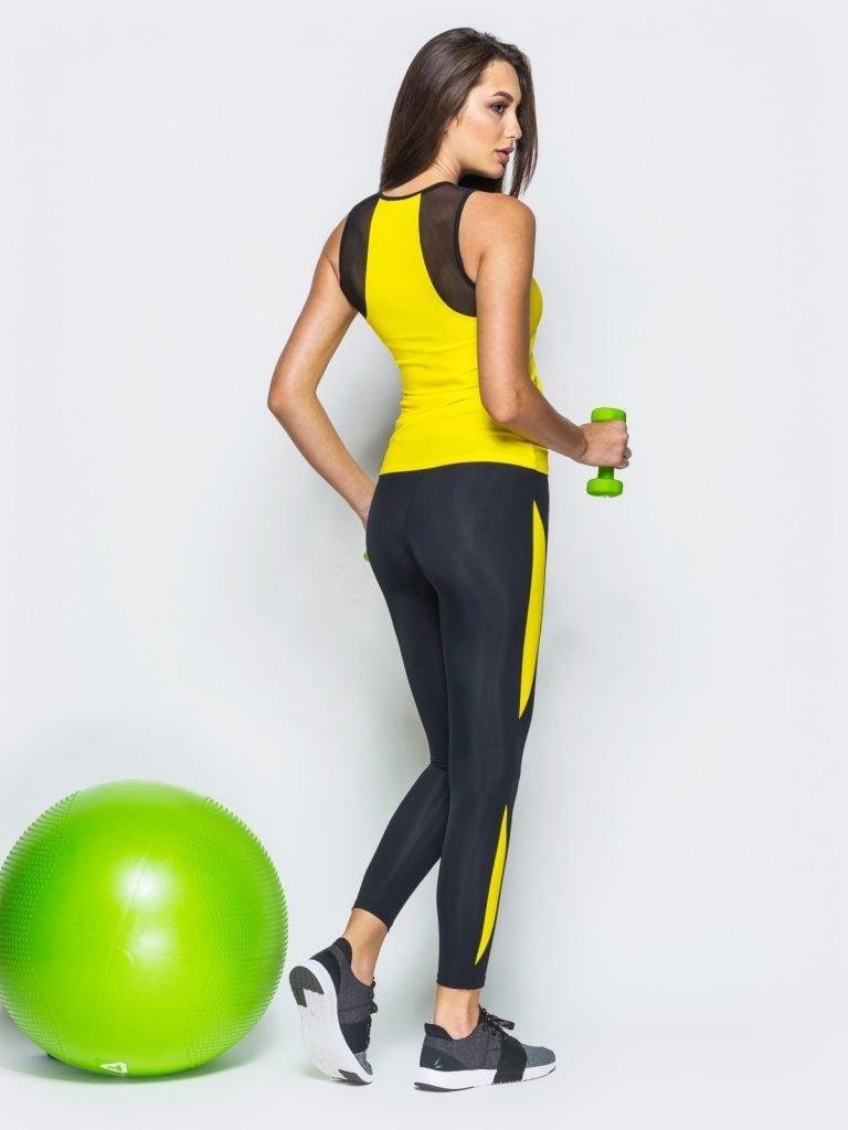 Strój fitness sportowy czarno żółty (koszulka, legginsy) Pure (zdjęcie 5)