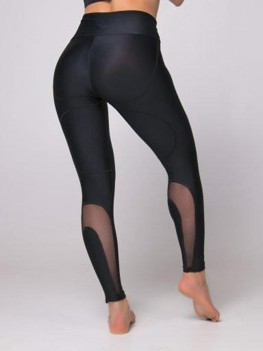 Legginsy sportowe czarne z ozdobną siateczką Pure (zdjęcie 6)