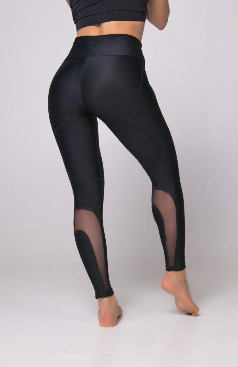 Legginsy sportowe czarne z ozdobną siateczką Pure