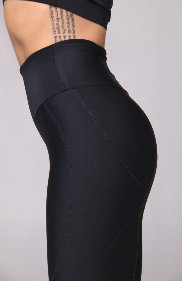 Legginsy sportowe czarne z ozdobną siateczką Pure (zdjęcie 3)