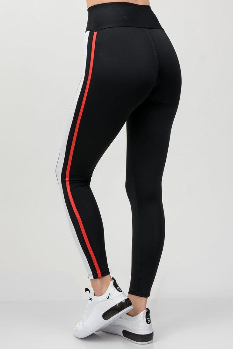 Legginsy sportowe czarne z białymi paskami Pure (zdjęcie 3)