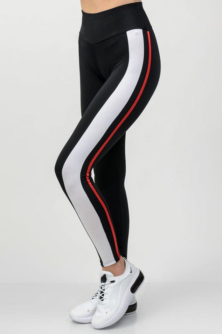 Legginsy sportowe czarne z białymi paskami Pure (zdjęcie 2)