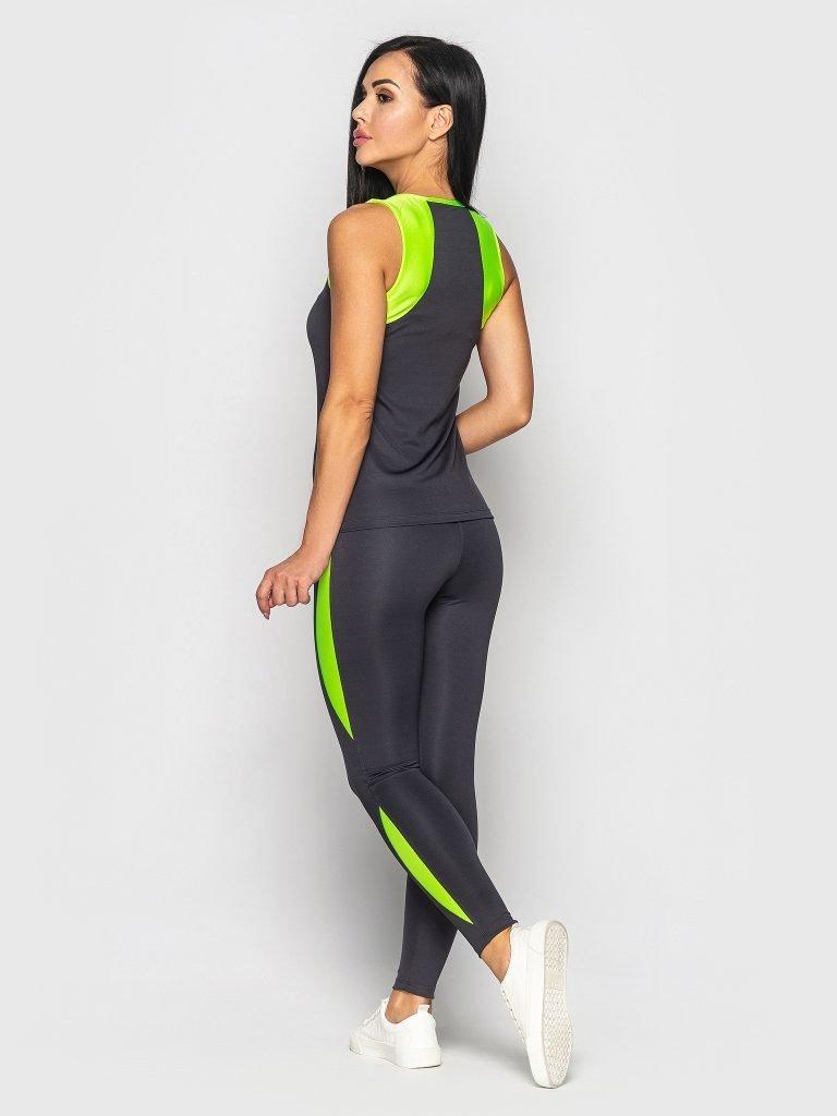 Strój fitness sportowy szaro żółty (koszulka, legginsy) Pure (zdjęcie 3)