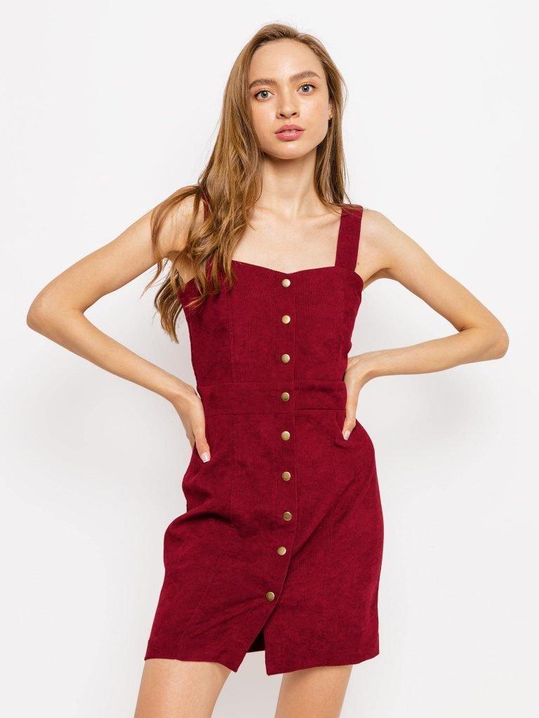 Burgundowa sztruksowa sukienka na szelkach Love&Live (zdjęcie 4)