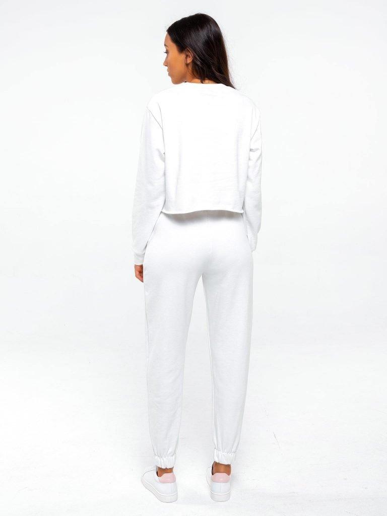 Zestaw dresowy o skróconym kroju w kolorze złamanej bieli Love&Live (zdjęcie 4)