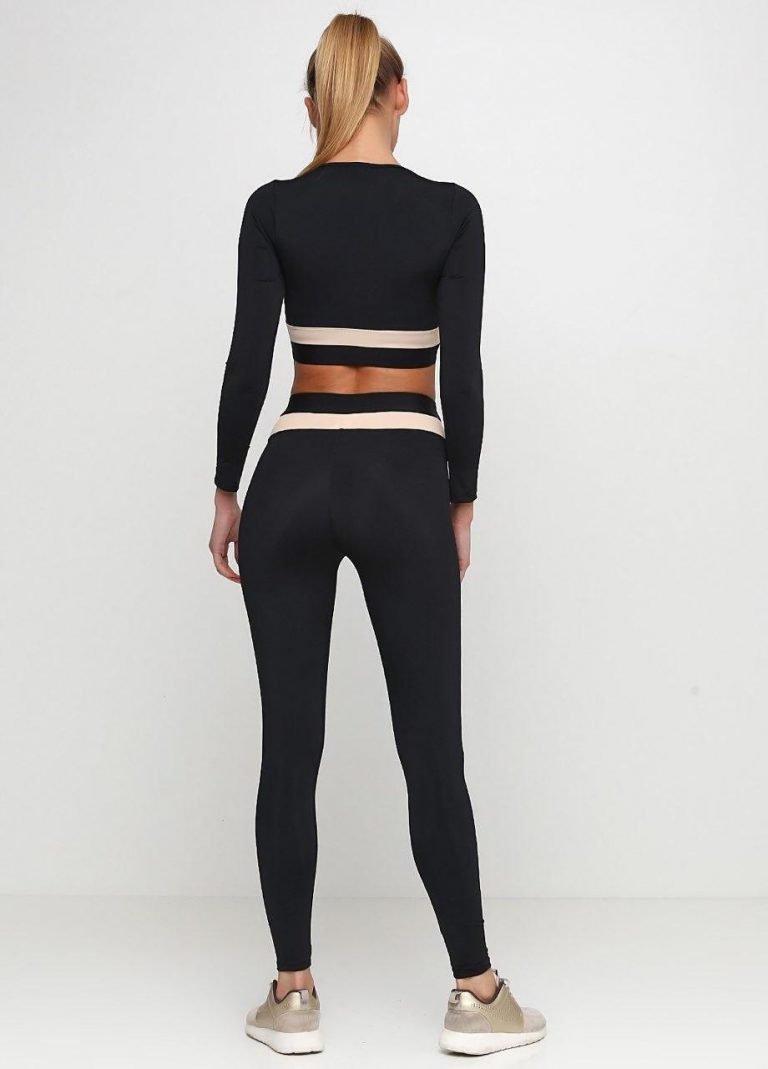 Strój fitness sportowy czarno-kremowy (top, legginsy) Pure (zdjęcie 2)
