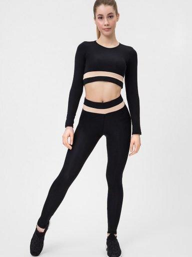 Strój fitness sportowy czarno kremowy (top, legginsy) Pure (zdjęcie 5)