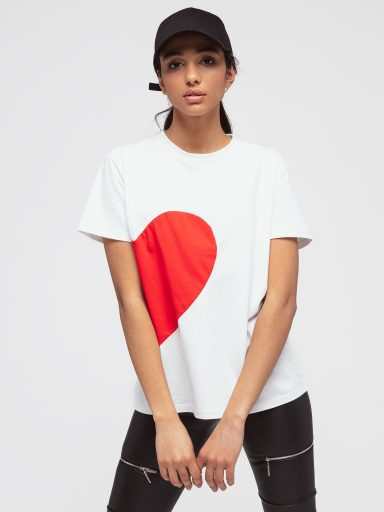 T-shirt biały z sercem Love&Live