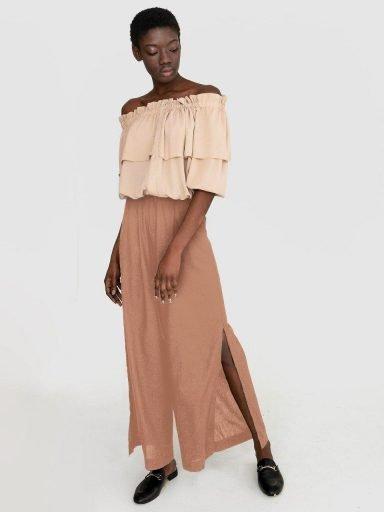 Szerokie lniane spodnie w kolorze brązowym Katarina Ivanenko (zdjęcie 6)