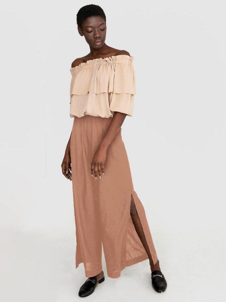 Szerokie lniane spodnie w kolorze brązowym Katarina Ivanenko