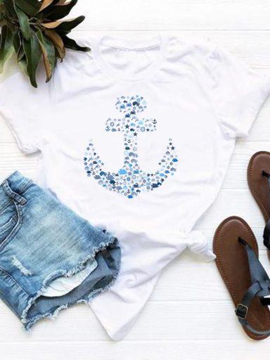 T-shirt biały Kotwica Love&Live