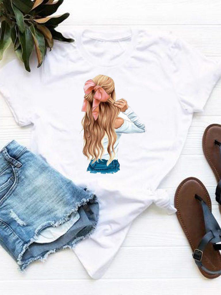 T-shirt biały Fryzura Love&Live