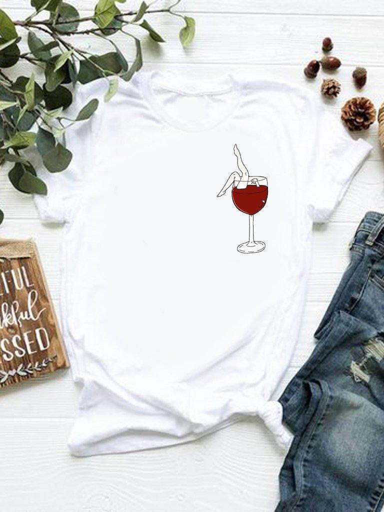 T-shirt biały Kąpiel w winie Katarina Ivanenko