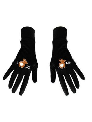 Damskie rękawice bawełniane czarne z nadrukiem I LOVE YOU Katarina Ivanenko (zdjęcie 7)