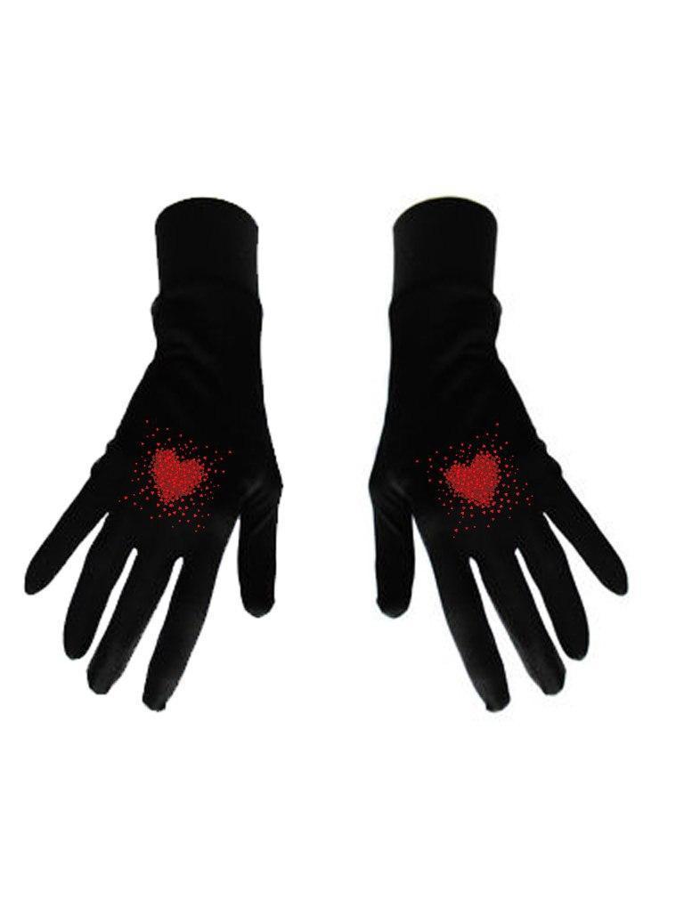 Damskie rękawice bawełniane czarne z nadrukiem Kawałki miłości Katarina Ivanenko