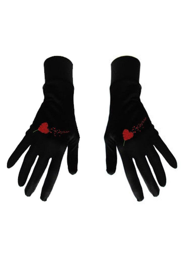 Damskie rękawice bawełniane czarne z nadrukiem Miłość wisi w powietrzu Katarina Ivanenko