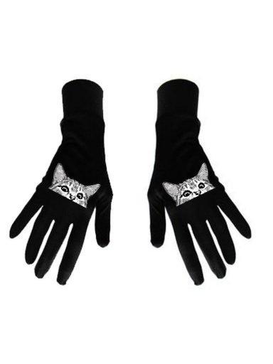 Damskie rękawice bawełniane czarne z nadrukiem Kotka Katarina Ivanenko (zdjęcie 8)