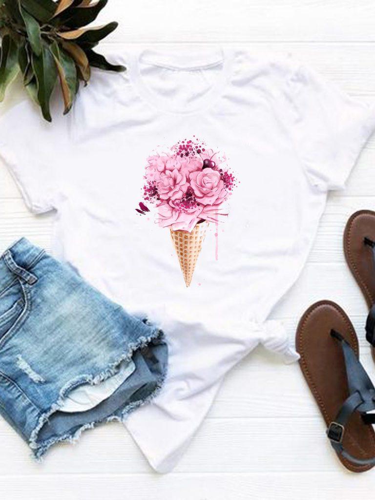 T-shirt biały Kwiaty w wafelku Love&Live