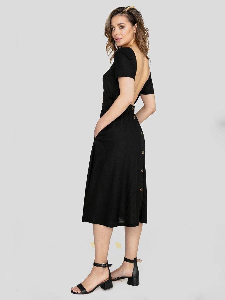 Odsłaniająca plecy lniana sukienka w kolorze czerni Katarina Ivanenko