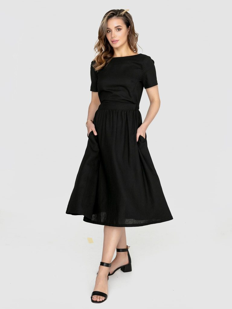 Odsłaniająca plecy lniana sukienka w kolorze czerni Katarina Ivanenko (zdjęcie 2)