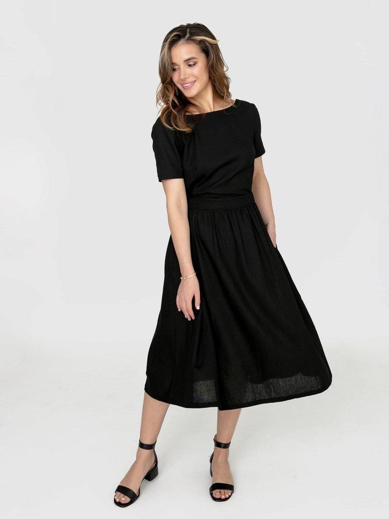 Odsłaniająca plecy lniana sukienka w kolorze czerni Katarina Ivanenko (zdjęcie 3)