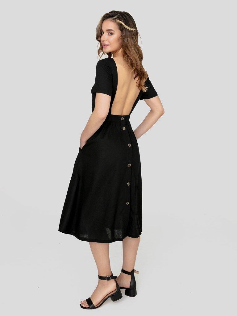 Odsłaniająca plecy lniana sukienka w kolorze czerni Katarina Ivanenko (zdjęcie 4)