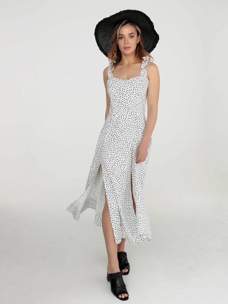 Lniana sukienka maxi biała w czarne grochy Love&Live