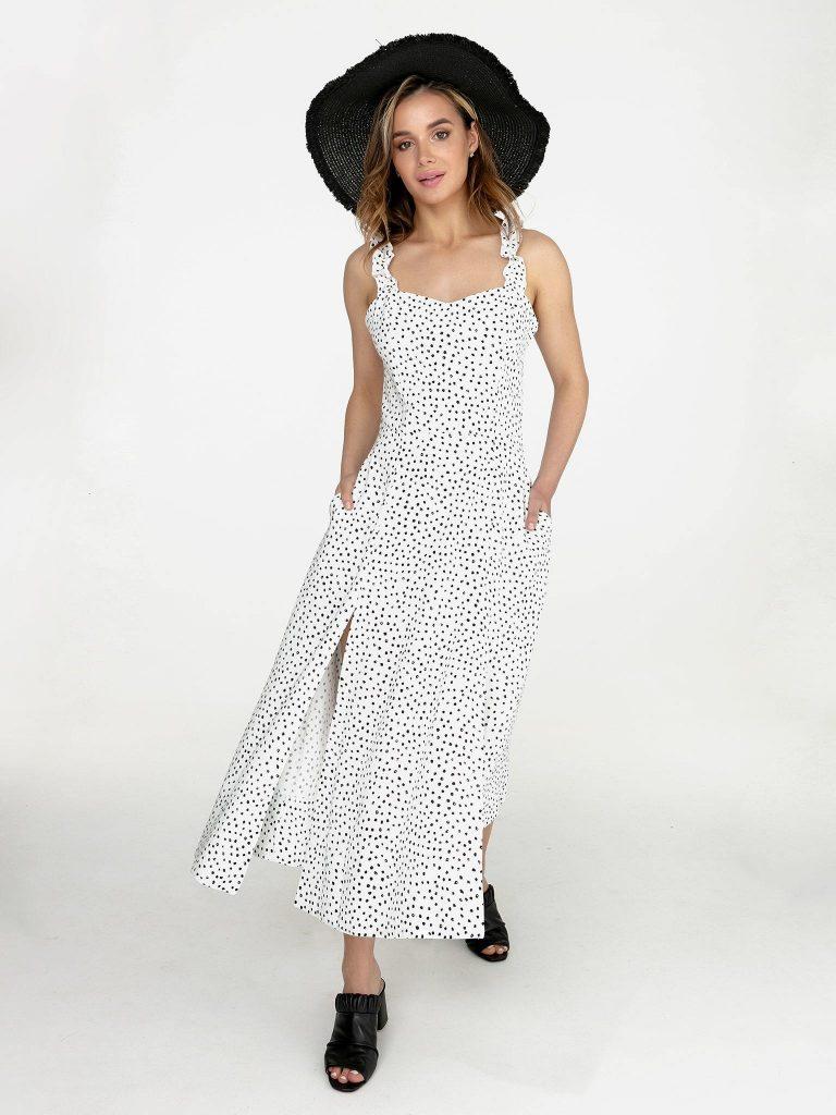 Lniana sukienka maxi biała w czarne grochy Love&Live (zdjęcie 3)