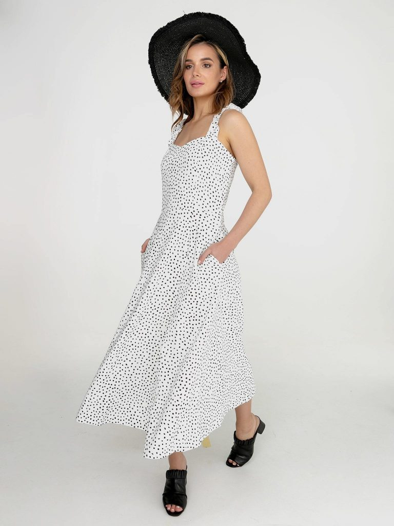 Lniana sukienka maxi biała w czarne grochy Love&Live (zdjęcie 4)