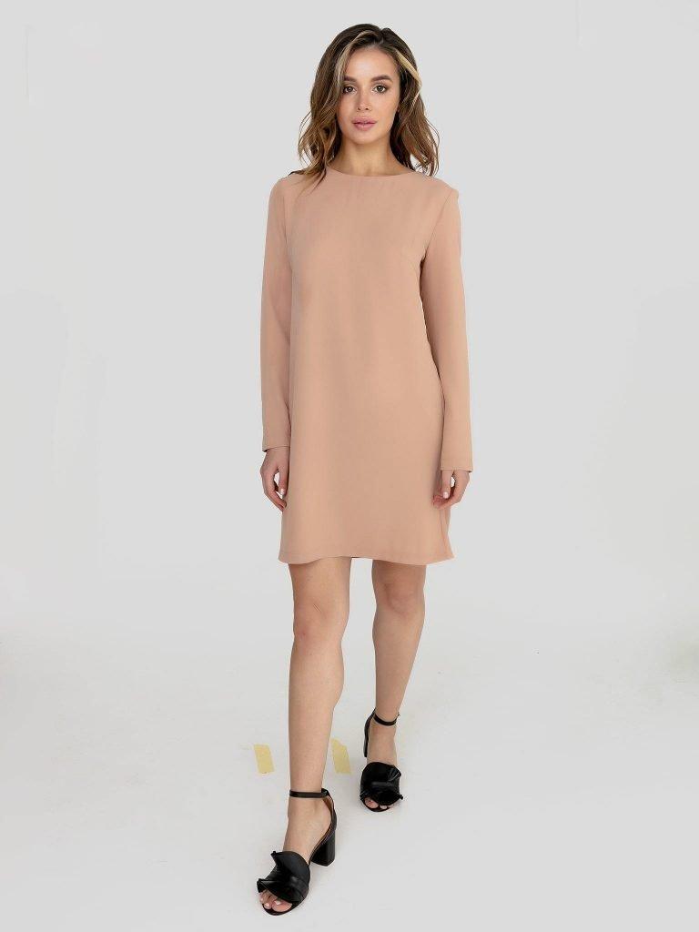 Odsłaniająca plecy sukienka mini w kolorze słomkowego beżu Katarina Ivanenko (zdjęcie 2)