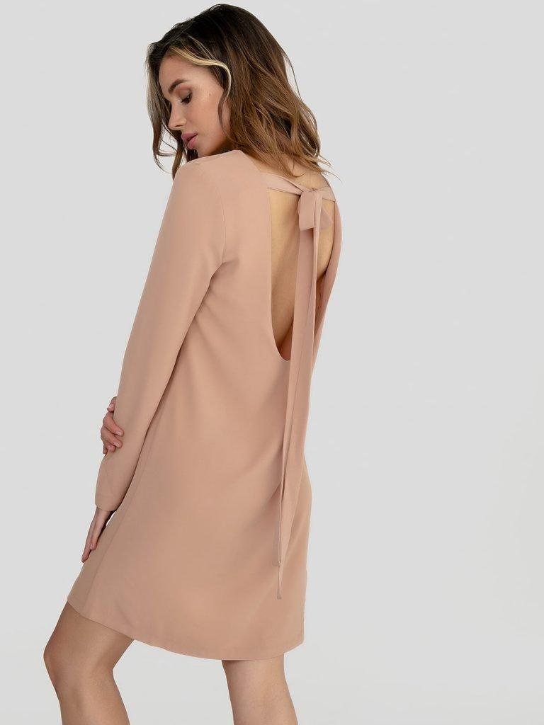 Odsłaniająca plecy sukienka mini w kolorze słomkowego beżu Katarina Ivanenko