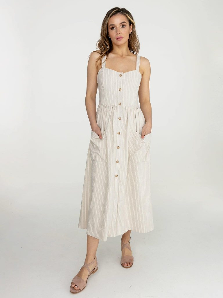 Lniana sukienka midi w paski w kolorze mlecznym Love&Live (zdjęcie 3)
