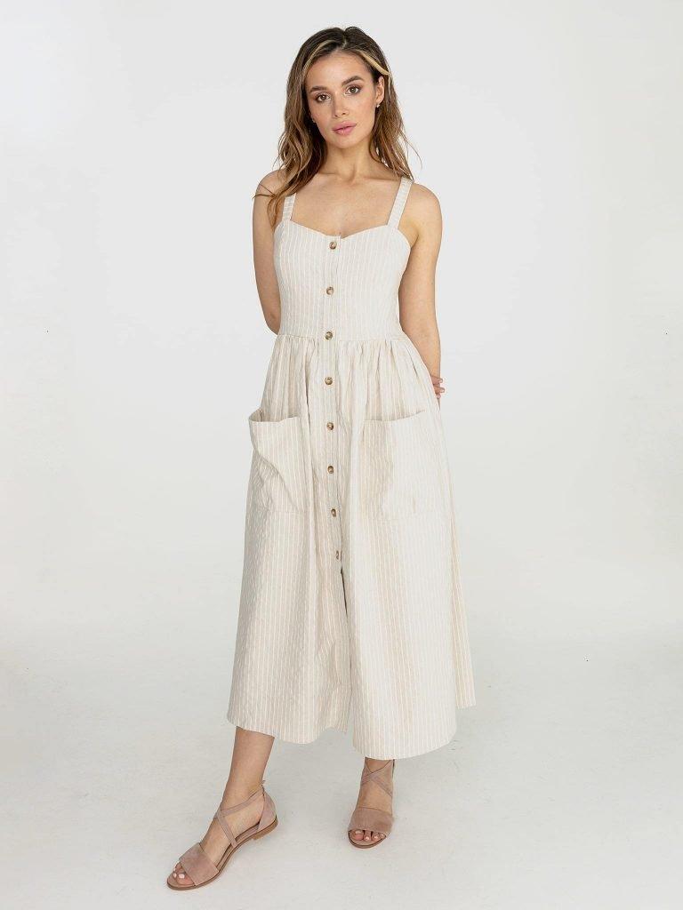 Lniana sukienka midi w paski w kolorze mlecznym Love&Live