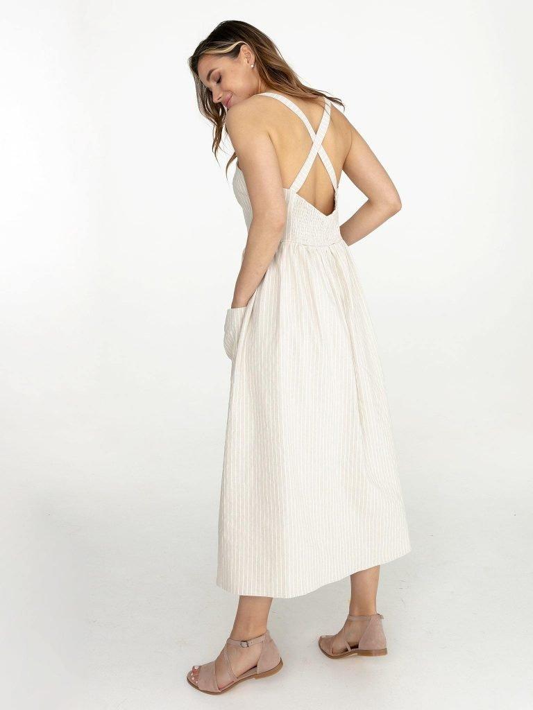 Lniana sukienka midi w paski w kolorze mlecznym Love&Live (zdjęcie 2)