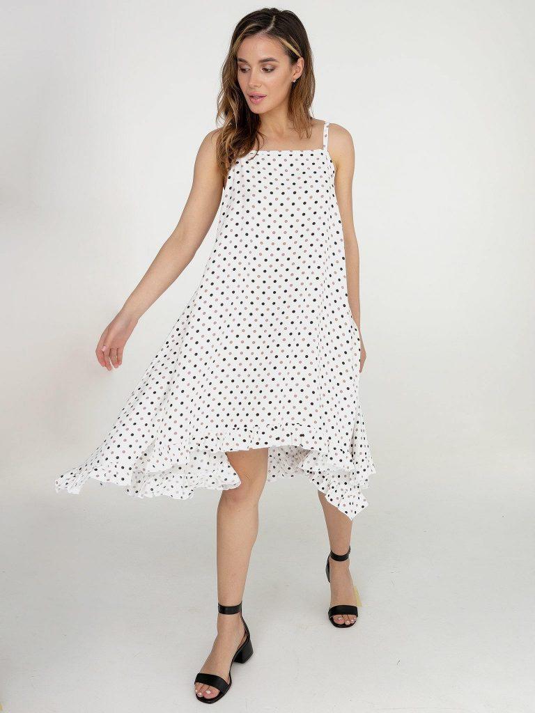 Sukienka rozkloszowana midi biała w groszek Love&Live (zdjęcie 2)