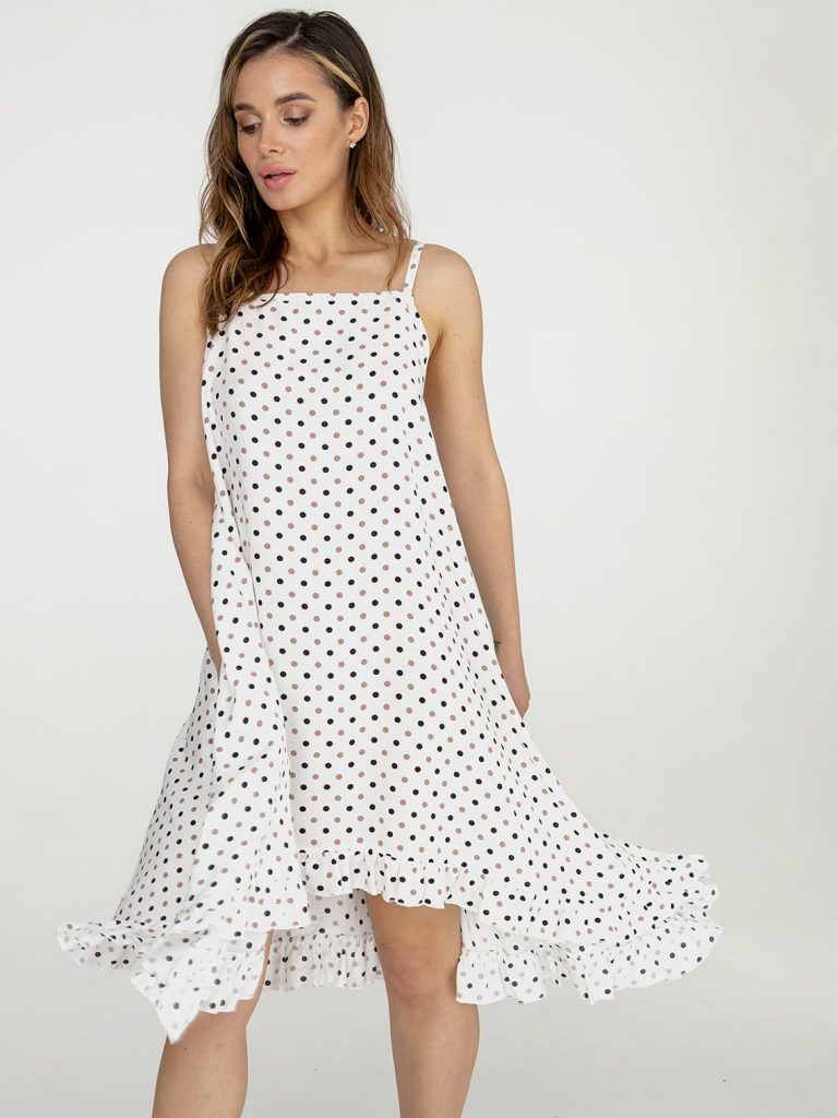 Sukienka rozkloszowana midi biała w groszek Love&Live