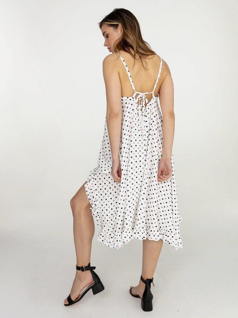 Sukienka rozkloszowana midi biała w groszek Love&Live (zdjęcie 3)