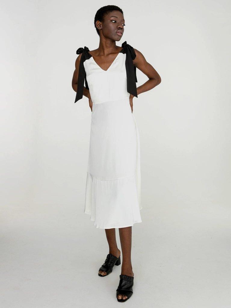Sukienka midi z kontrastowym wiązaniem w kolorze białym Katarina Ivanenko