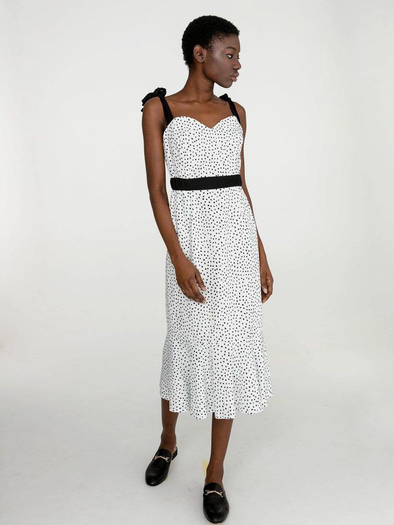 Lniana sukienka midi w grochy w kolorze białym Katarina Ivanenko (zdjęcie 3)