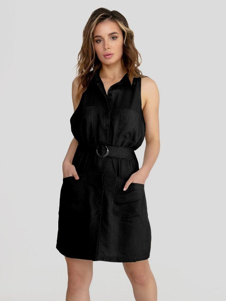 Lniana sukienka mini w stylu koszulowym czarna Katarina Ivanenko